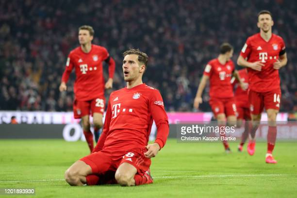 Leon Goretzka of FC Bayern Munich celebrates after scoring his team's third goal during the Bundesliga match between FC Bayern Muenchen and FC...