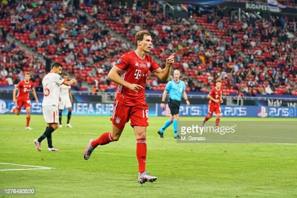 Leon Goretzka of FC Bayern Munich celebrates after scoring his team's first goal during the UEFA Super Cup match between FC Bayern Munich and FC...