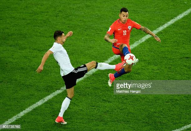 Leon Goretzka of Germany and Eduardo Vargas of Chile battle for possession during the FIFA Confederations Cup Russia 2017 Final between Chile and...