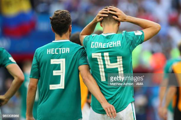Leon Goretzka of Germany and Jonas Hector of Germany look dejected at the end of the 2018 FIFA World Cup Russia group F match between Korea Republic...