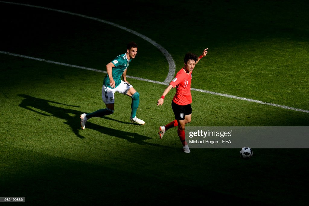Leon Goretzka of Germany and Lee Jaesung of South Korea in action during the 2018 FIFA World Cup Russia group F match between Korea Republic and Germany at Kazan Arena on June 27, 2018 in Kazan, Russia.