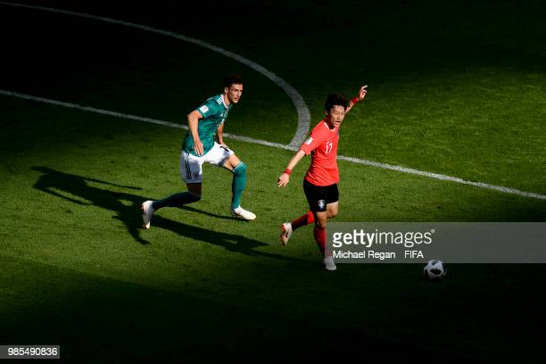 Leon Goretzka of Germany and Lee Jaesung of South Korea in action during the 2018 FIFA World Cup Russia group F match between Korea Republic and...