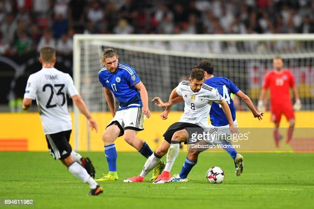 Leon Goretzka of Germany and Michele Cervellini compete for the ball during the FIFA 2018 World Cup Qualifier between Germany and San Marino at...