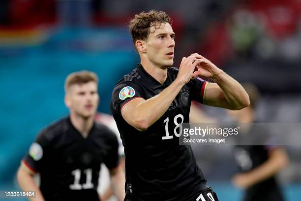 Leon Goretzka of Germany celebrates 2-2 during the match between Germany v Hungary at the Allianz Arena on June 23, 2021 in Munich Germany