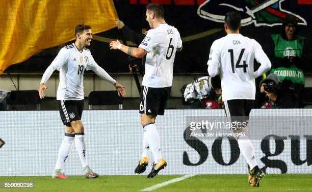 Leon Goretzka of Germany celebrates after he scores the opening goal during the FIFA 2018 World Cup Qualifier between Germany and Azerbaijan at...