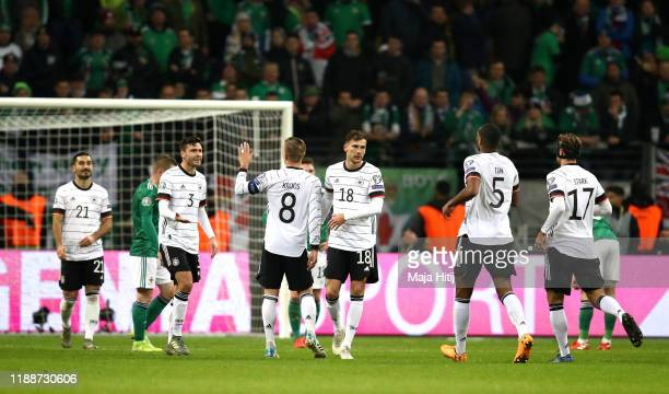 Leon Goretzka of Germany celebrates after scoring his team's fifth goal during the UEFA Euro 2020 Qualifier between Germany and Northern Ireland at...