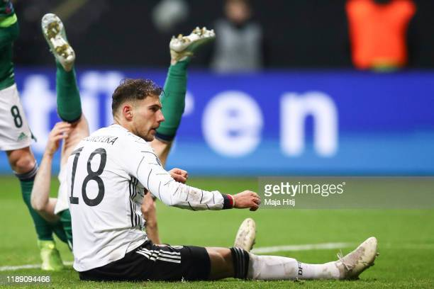 Leon Goretzka of Germany celebrates after scoring his team's second goal during the UEFA Euro 2020 Qualifier between Germany and Northern Ireland at...