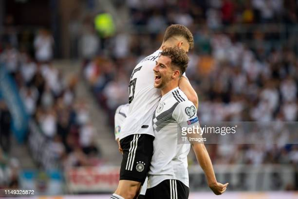 Leon Goretzka of Germany celebrates after scoring his team's third goal with team mates Joshua Kimmich of Germany during the UEFA Euro 2020 Qualifier...