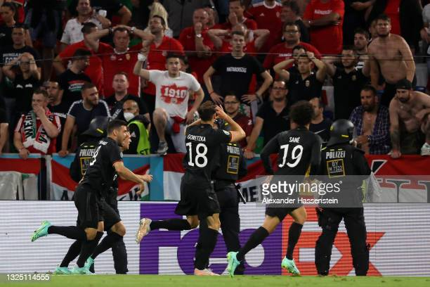Leon Goretzka of Germany celebrates after scoring their side's second goal during the UEFA Euro 2020 Championship Group F match between Germany and...