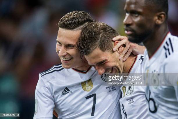 Leon Goretzka of Germany celebrates his second goal with Julian Draxler of Germany during FIFA Confederations Cup Russia semifinal match between...