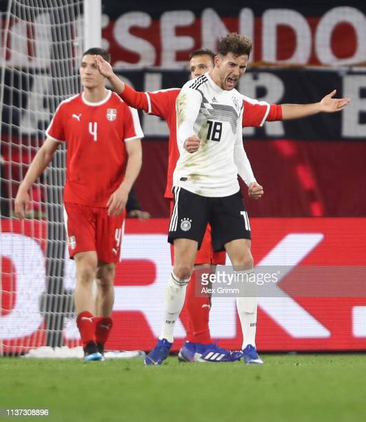 Leon Goretzka of Germany celebrates his team's first goal during the International Friendly match between Germany and Serbia at Volkswagen Arena on...