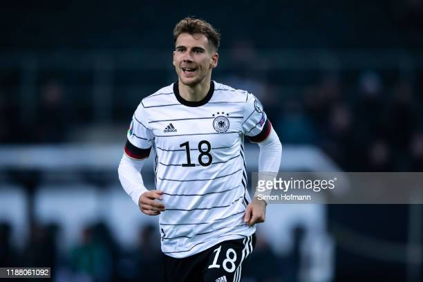 Leon Goretzka of Germany celebrates his team's second goal during the UEFA Euro 2020 Qualifier match between Germany and Belarus on November 16 2019...
