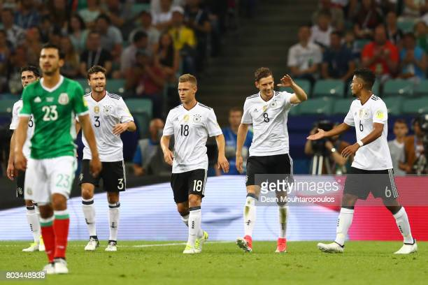 Leon Goretzka of Germany celebrates scoring his sides first goal with his Germany team mates during the FIFA Confederations Cup Russia 2017 SemiFinal...
