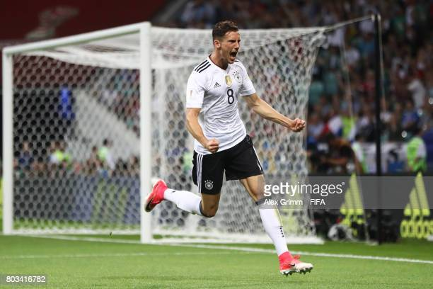 Leon Goretzka of Germany celebrates scoring his side's second goal during the FIFA Confederations Cup Russia 2017 SemiFinal between Germany and...