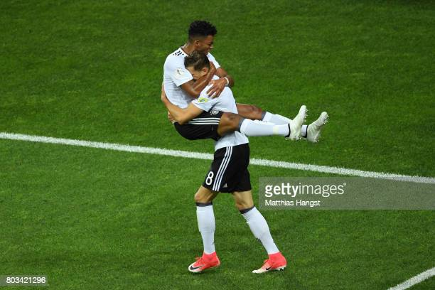 Leon Goretzka of Germany celebrates scoring his side's second goal during with his team mate Benjamin Henrichs the FIFA Confederations Cup Russia...
