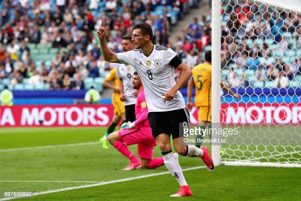 Leon Goretzka of Germany celebrates scoring his side's third goal during the FIFA Confederations Cup Russia 2017 Group B match between Australia and...