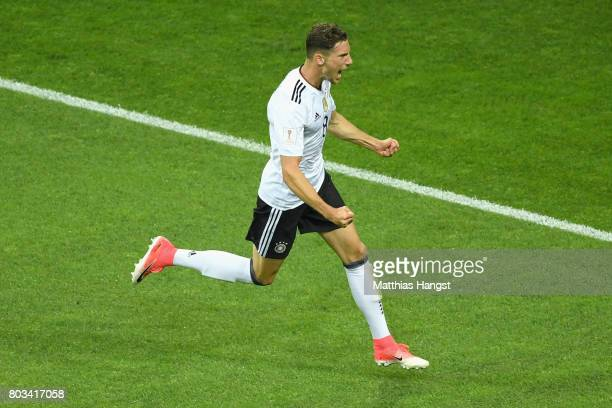 Leon Goretzka of Germany celebrates scoring his team's second goal during the FIFA Confederations Cup Russia 2017 SemiFinal between Germany and...