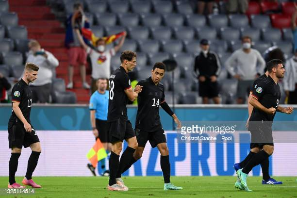 Leon Goretzka of Germany celebrates with Jamal Musiala after scoring their side's second goal during the UEFA Euro 2020 Championship Group F match...