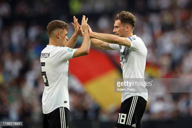 Leon Goretzka of Germany celebrates with Joshua Kimmich after scoring their third goal during the UEFA Euro 2020 Qualifier match between Germany and...