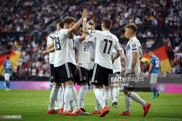 Leon Goretzka of Germany celebrates with Marco Reus of Germany after scoring during the UEFA Euro 2020 Qualifier match between Germany and Estonia at...