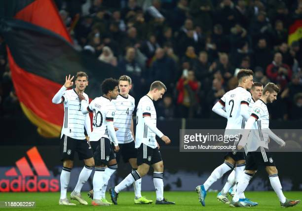 Leon Goretzka of Germany celebrates with team mates after scoring his team's second goal during the UEFA Euro 2020 Group C Qualifier match between...
