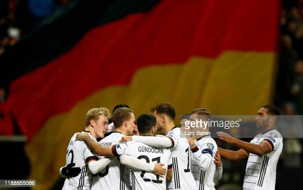 Leon Goretzka of Germany celebrates with team mates during the UEFA Euro 2020 Qualifier between Germany and Northern Ireland at Commerzbank Arena on...