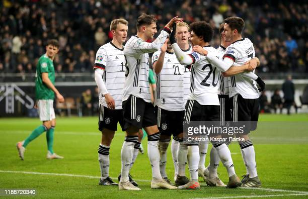 Leon Goretzka of Germany celebrates with teammates after scoring his team's second goal during the UEFA Euro 2020 Qualifier between Germany and...