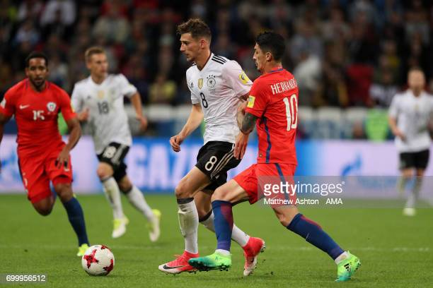 Leon Goretzka of Germany competes with Pablo Hernandez of Chileduring the FIFA Confederations Cup Russia 2017 Group B match between Germany and Chile...