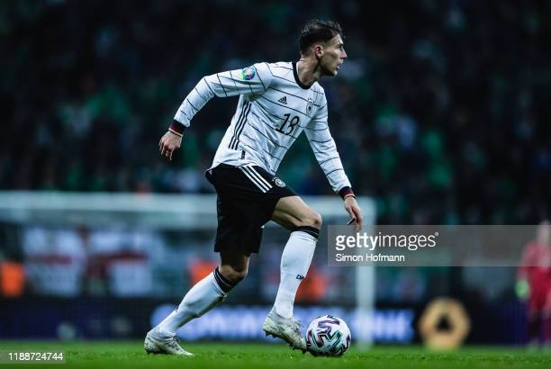 Leon Goretzka of Germany controls the ball during the UEFA Euro 2020 Qualifier between Germany and Northern Ireland at Commerzbank Arena on November...