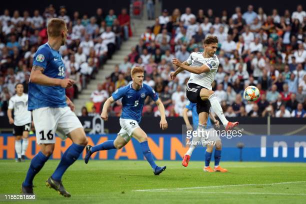 Leon Goretzka of Germany has a shot saved during the UEFA Euro 2020 Qualifier match between Germany and Estonia at Opel Arena on June 11, 2019 in...