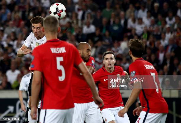 Leon Goretzka of Germany heads his teams fifth goal during the FIFA 2018 World Cup Qualifier between Germany and Norway at MercedesBenz Arena on...