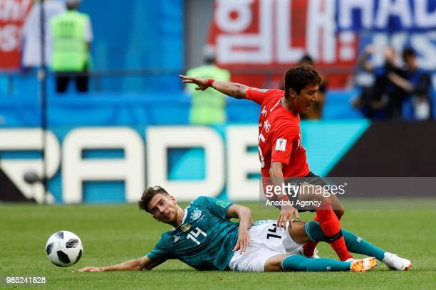 Leon Goretzka of Germany in action against Jung Wooyoung of Korea Republic during the 2018 FIFA World Cup Russia Group F match between Korea Republic...