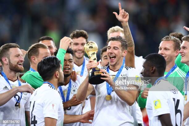 Leon Goretzka of Germany lifts the FIFA Confederations Cup trophy after the FIFA Confederations Cup Russia 2017 Final between Chile and Germany at...