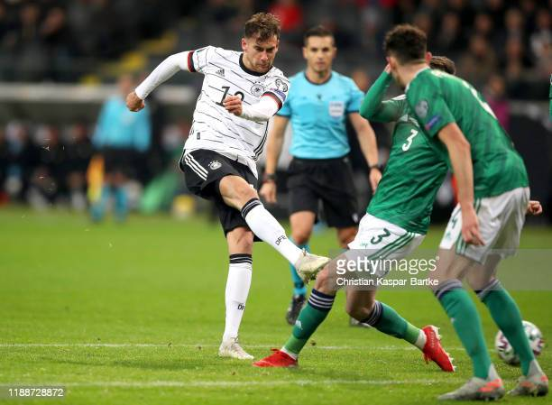 Leon Goretzka of Germany scores his team's fifth goal during the UEFA Euro 2020 Qualifier between Germany and Northern Ireland at Commerzbank Arena...