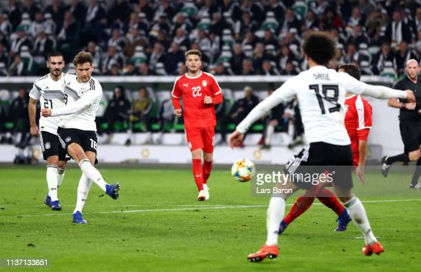 Leon Goretzka of Germany scores his team's first goal during the International Friendly match between Germany and Serbia at Volkswagen Arena on March...