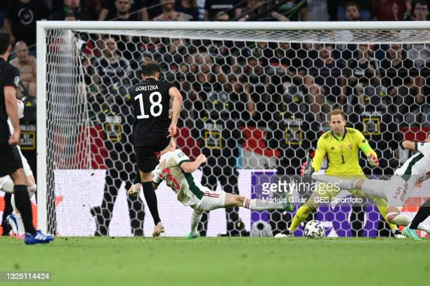 Leon Goretzka of Germany scores his team's second goal during the UEFA Euro 2020 Championship Group F match between Germany and Hungary at Football...