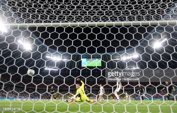 Leon Goretzka of Germany scores their side's second goal past Peter Gulacsi of Hungary during the UEFA Euro 2020 Championship Group F match between...