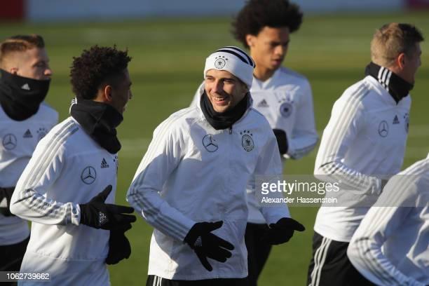 Leon Goretzka of Germany smiles during a Germany training session at RB Leipzig Training Center on November 17 2018 in Leipzig Germany