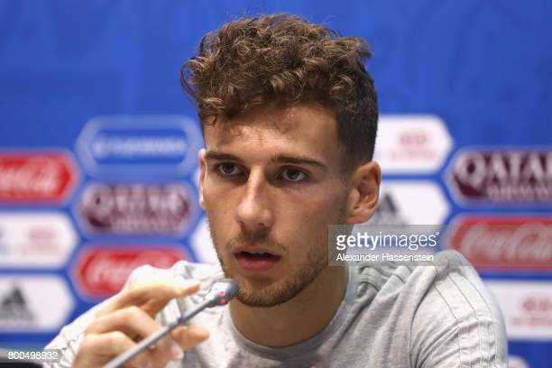 Leon Goretzka of Germany talks to the media during a Press Conference of the German national team ahead of their FIFA Confederations Cup Russia 2017...