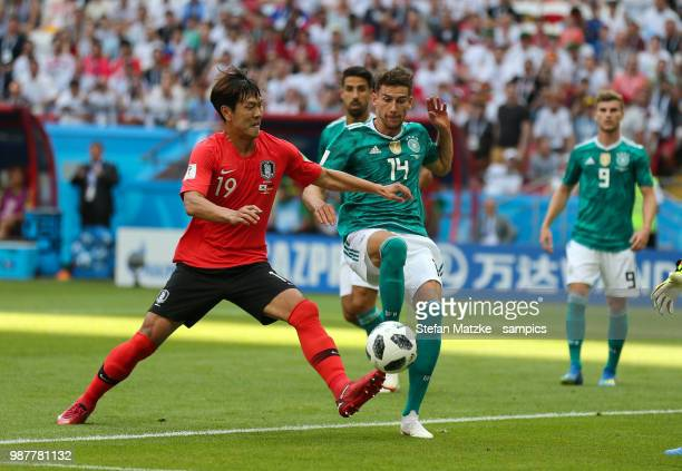 Leon Goretzka of Germany Younggwon Kim of Republic Korea during the 2018 FIFA World Cup Russia group F match between Korea Republic and Germany at...