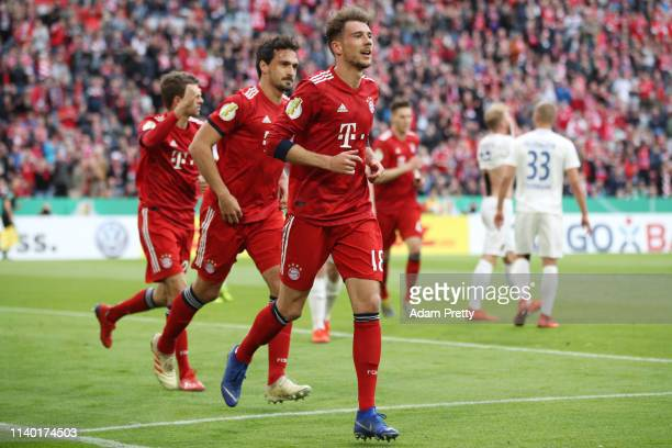 Leon Goretzka of Muenchen celebrates his team's first goal during the DFB Cup quarterfinal match between Bayern Muenchen and 1 FC Heidenheim at...
