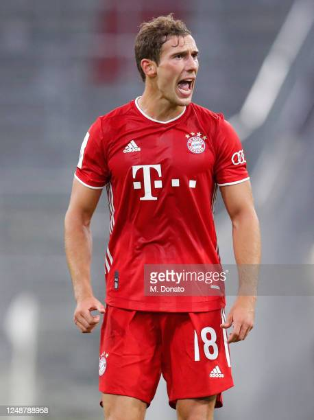 Leon Goretzka of Muenchen reacts during the DFB Cup semifinal match between FC Bayern Muenchen and Eintracht Frankfurt at Allianz Arena on June 10,...