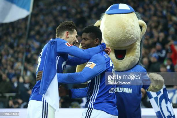Leon Goretzka of Schalke celebrate a goal by Breel Embolo of Schalke which was later disallowed due to offside during the Bundesliga match between FC...