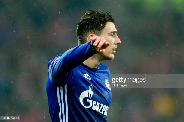Leon Goretzka of Schalke gestures during the Bundesliga match between 1 FSV Mainz 05 and FC Schalke 04 at Opel Arena on March 9 2018 in Mainz Germany