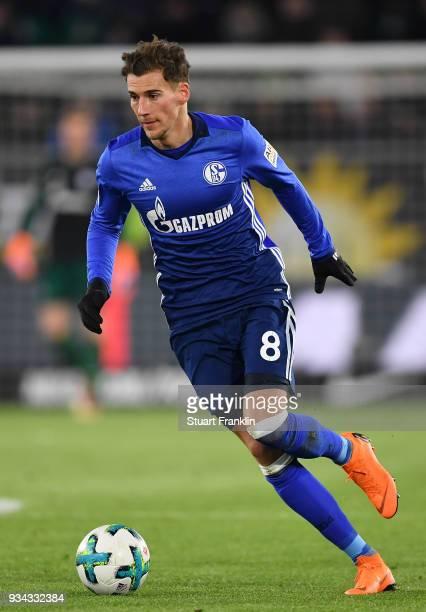 Leon Goretzka of Schalke in action during the Bundesliga match between VfL Wolfsburg and FC Schalke 04 at Volkswagen Arena on March 17 2018 in...