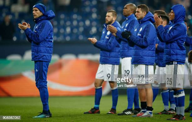 Leon Goretzka of Schalke is seen with his team mates after the Bundesliga match between FC Schalke 04 and Hannover 96 at VeltinsArena on January 21...
