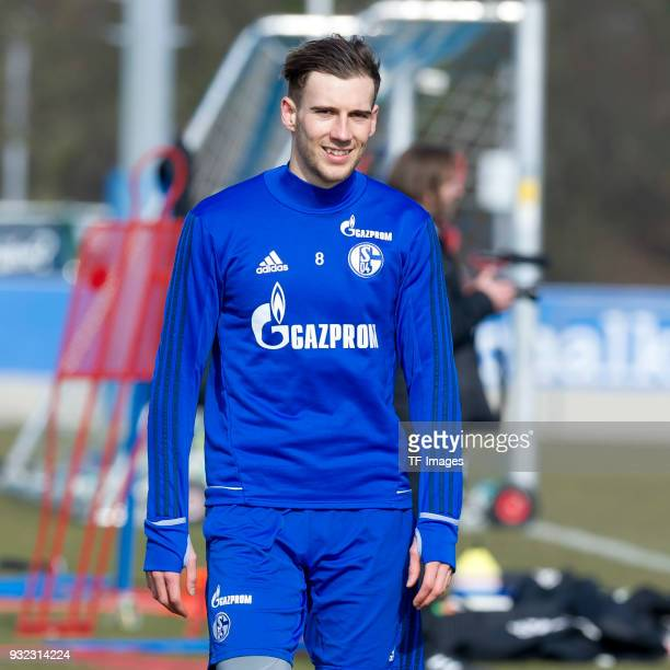 Leon Goretzka of Schalke looks on during a training session at the FC Schalke 04 Training center on March 06 2018 in Gelsenkirchen Germany