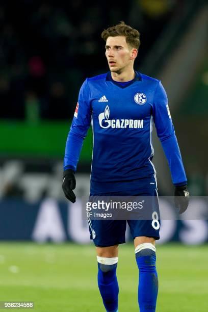 Leon Goretzka of Schalke looks on during the Bundesliga match between VfL Wolfsburg and FC Schalke 04 at Volkswagen Arena on March 17 2018 in...