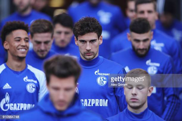 Leon Goretzka of Schalke looks on prior to the Bundesliga match between VfB Stuttgart and FC Schalke 04 at MercedesBenz Arena on January 27 2018 in...