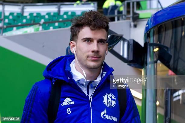 Leon Goretzka of Schalke looks on prior to the Bundesliga match between VfL Wolfsburg and FC Schalke 04 at Volkswagen Arena on March 17 2018 in...